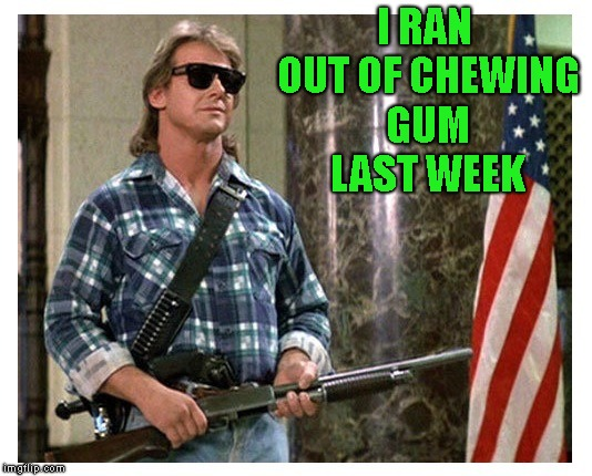 RIP Roddy Piper | I RAN OUT OF CHEWING GUM LAST WEEK | image tagged in rip roddy piper | made w/ Imgflip meme maker