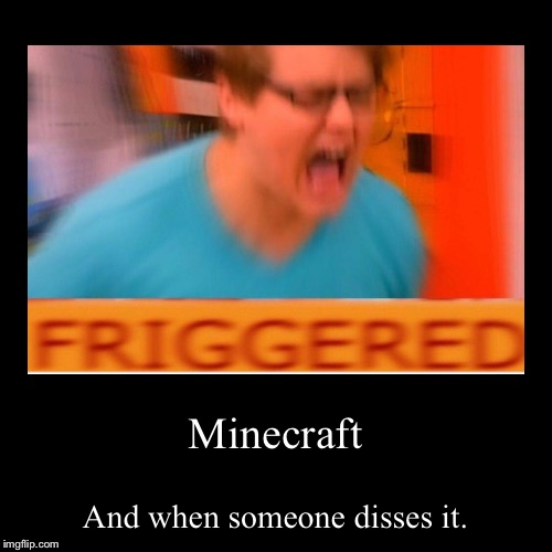Minecraft | And when someone disses it. | image tagged in funny,demotivationals | made w/ Imgflip demotivational maker
