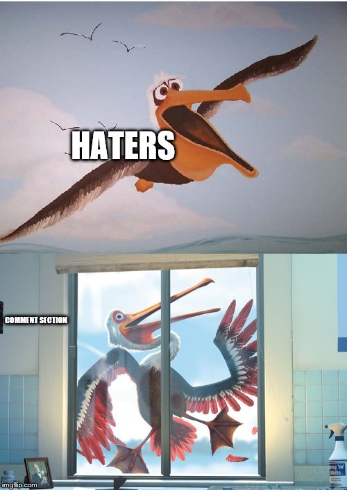 pelican from finding nemo | HATERS COMMENT SECTION | image tagged in pelican from finding nemo | made w/ Imgflip meme maker