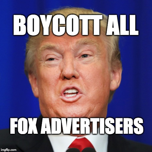 Boycott all Fox advertisers.  | BOYCOTT ALL FOX ADVERTISERS | image tagged in trump,donald trump,fox news,fake news,propaganda | made w/ Imgflip meme maker