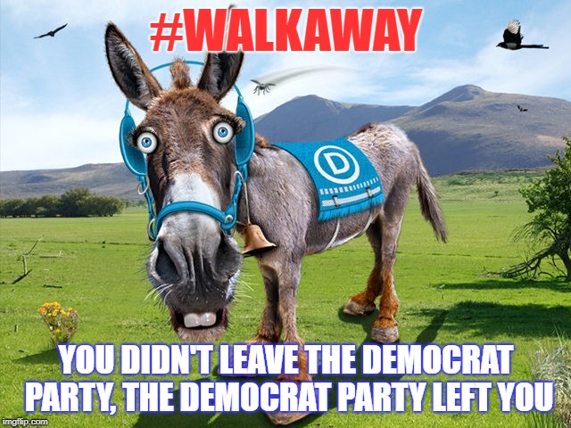 #walkaway | #WALKAWAY YOU DIDN'T LEAVE THE DEMOCRAT PARTY, THE DEMOCRAT PARTY LEFT YOU | image tagged in dem donkey | made w/ Imgflip meme maker