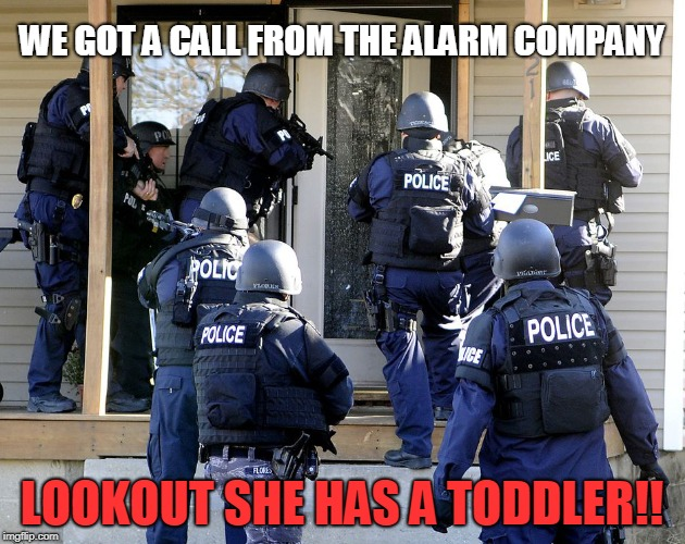 Police Raid | WE GOT A CALL FROM THE ALARM COMPANY LOOKOUT SHE HAS A TODDLER!! | image tagged in police raid | made w/ Imgflip meme maker