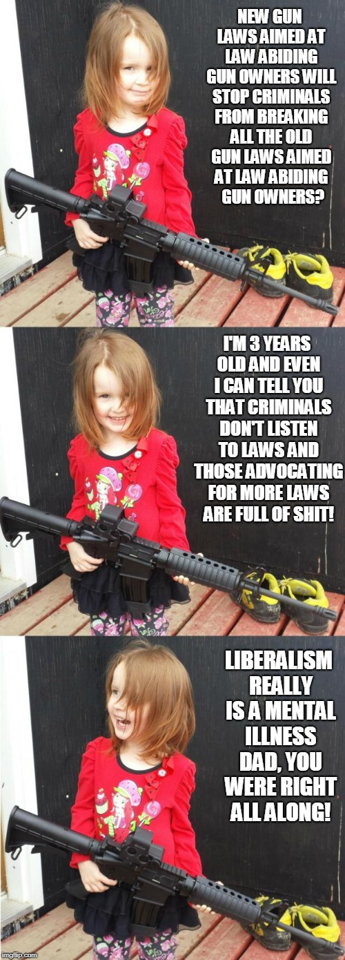 GIRL WITH GUN |  NEW GUN LAWS AIMED AT LAW ABIDING GUN OWNERS WILL STOP CRIMINALS FROM BREAKING ALL THE OLD GUN LAWS AIMED AT LAW ABIDING  GUN OWNERS? I'M 3 YEARS OLD AND EVEN I CAN TELL YOU THAT CRIMINALS DON'T LISTEN TO LAWS AND THOSE ADVOCATING FOR MORE LAWS ARE FULL OF SHIT! LIBERALISM REALLY IS A MENTAL ILLNESS DAD, YOU WERE RIGHT ALL ALONG! | image tagged in girl with gun | made w/ Imgflip meme maker