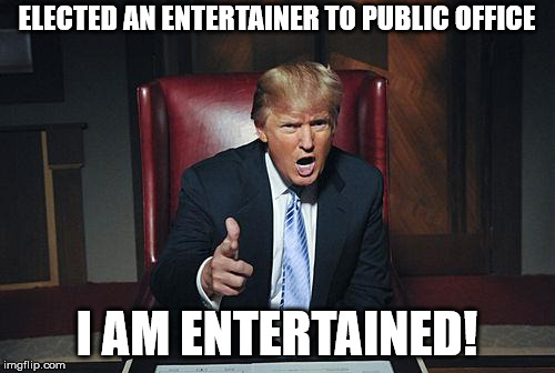 Donald Trump You're Fired | ELECTED AN ENTERTAINER TO PUBLIC OFFICE I AM ENTERTAINED! | image tagged in donald trump you're fired | made w/ Imgflip meme maker
