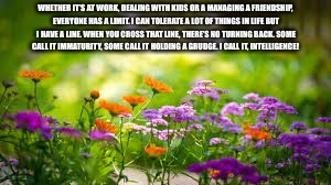 garden | WHETHER IT'S AT WORK, DEALING WITH KIDS OR A MANAGING A FRIENDSHIP, EVERYONE HAS A LIMIT. I CAN TOLERATE A LOT OF THINGS IN LIFE BUT I HAVE  | image tagged in garden | made w/ Imgflip meme maker