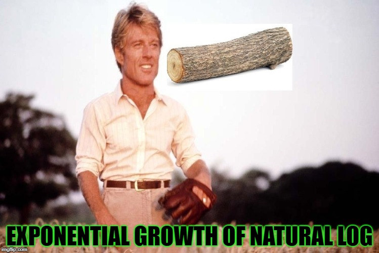 Natural Log | EXPONENTIAL GROWTH OF NATURAL LOG | image tagged in natural log | made w/ Imgflip meme maker