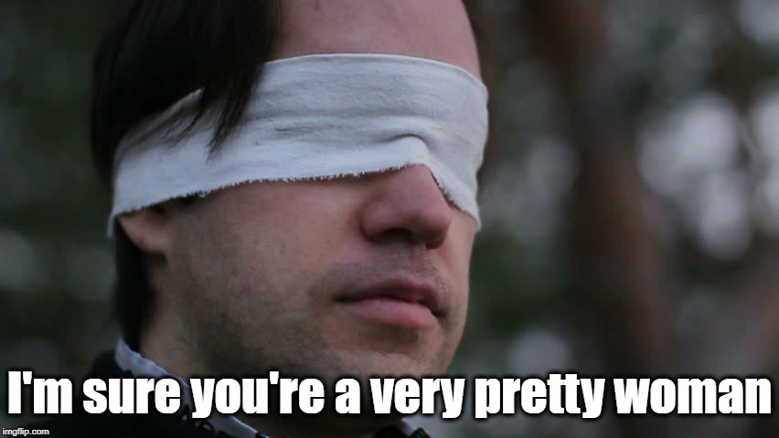 Blindfolded man | I'm sure you're a very pretty woman | image tagged in blindfolded man | made w/ Imgflip meme maker