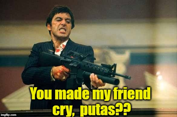 Tony Montana and Girl Scout cookies | You made my friend cry,  putas?? | image tagged in tony montana and girl scout cookies | made w/ Imgflip meme maker