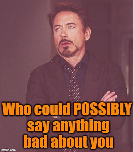 Face You Make Robert Downey Jr Meme | Who could POSSIBLY say anything bad about you | image tagged in memes,face you make robert downey jr | made w/ Imgflip meme maker