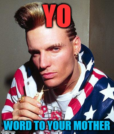 vanilla ice | YO WORD TO YOUR MOTHER | image tagged in vanilla ice | made w/ Imgflip meme maker