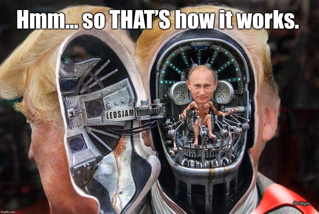 So that's how it works. | Hmm... so THAT'S how it works. Ben Wayne | image tagged in trump,putin,mib | made w/ Imgflip meme maker