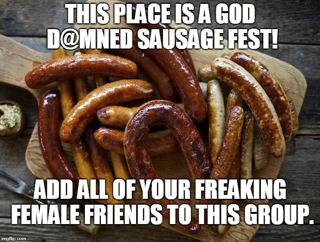 Sausage Fest | THIS PLACE IS A GOD D@MNED SAUSAGE FEST! ADD ALL OF YOUR FREAKING FEMALE FRIENDS TO THIS GROUP. | image tagged in sausage fest | made w/ Imgflip meme maker