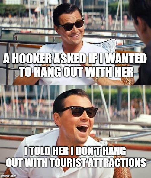Leonardo Dicaprio Wolf Of Wall Street Meme | A HOOKER ASKED IF I WANTED TO HANG OUT WITH HER I TOLD HER I DON'T HANG OUT WITH TOURIST ATTRACTIONS | image tagged in memes,leonardo dicaprio wolf of wall street | made w/ Imgflip meme maker