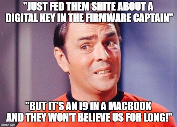 "Scotty | ""JUST FED THEM SHITE ABOUT A DIGITAL KEY IN THE FIRMWARE CAPTAIN"" ""BUT IT'S AN i9 IN A MACBOOK AND THEY WON'T BELIEVE US FOR LONG!"" 