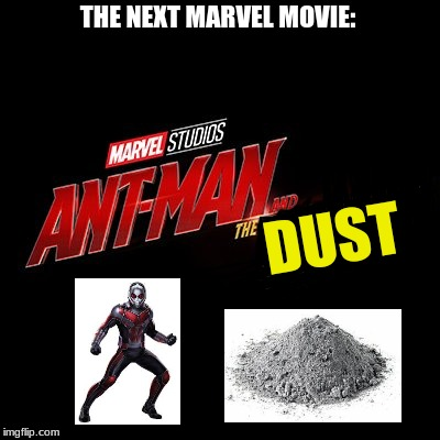 Spoiler Warning! |  THE NEXT MARVEL MOVIE:; DUST | image tagged in ant man,ant man and the wasp,avengers infinity war,marvel,memes,avengers 4 | made w/ Imgflip meme maker