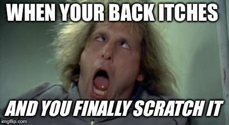 Scary Harry | WHEN YOUR BACK ITCHES AND YOU FINALLY SCRATCH IT | image tagged in memes,scary harry | made w/ Imgflip meme maker