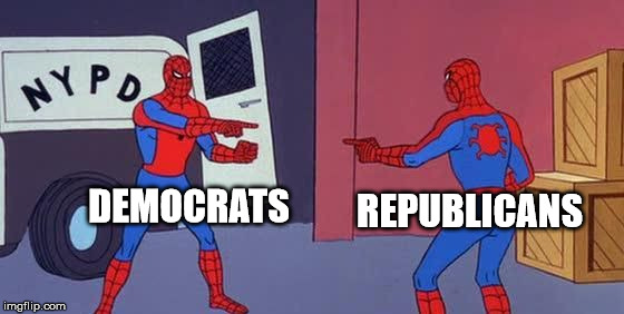 Spider Man Double | DEMOCRATS REPUBLICANS | image tagged in spider man double | made w/ Imgflip meme maker