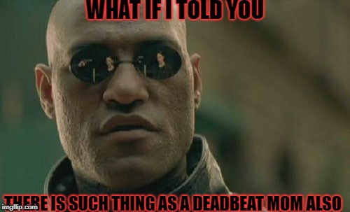 Matrix Morpheus Meme | WHAT IF I TOLD YOU THERE IS SUCH THING AS A DEADBEAT MOM ALSO | image tagged in memes,matrix morpheus | made w/ Imgflip meme maker