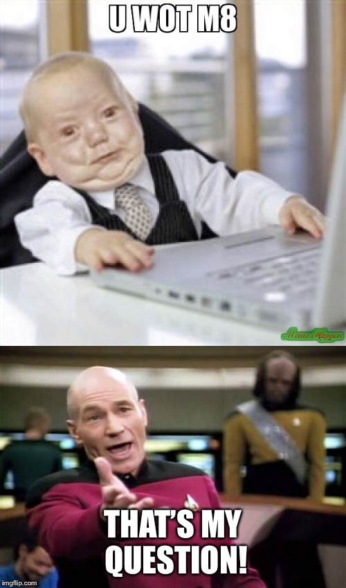 THAT'S MY QUESTION! | image tagged in picard wtf,u wot m8 | made w/ Imgflip meme maker
