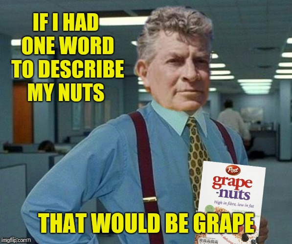 IF I HAD ONE WORD TO DESCRIBE MY NUTS THAT WOULD BE GRAPE | made w/ Imgflip meme maker