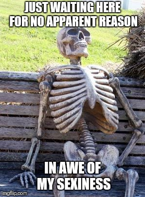 Sexy skeleton   | JUST WAITING HERE FOR NO APPARENT REASON IN AWE OF MY SEXINESS | image tagged in memes,waiting skeleton | made w/ Imgflip meme maker