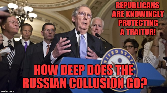Red is for Republican! | REPUBLICANS ARE KNOWINGLY PROTECTING A TRAITOR! HOW DEEP DOES THE RUSSIAN COLLUSION GO? | image tagged in republican senators,trump russia collusion,republicans,donald trump | made w/ Imgflip meme maker