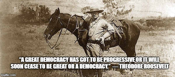 "Teddy Roosevelt  | ""A GREAT DEMOCRACY HAS GOT TO BE PROGRESSIVE OR IT WILL SOON CEASE TO BE GREAT OR A DEMOCRACY."" ― THEODORE ROOSEVELT 