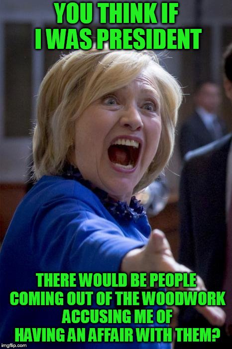 WTF Hillary | YOU THINK IF I WAS PRESIDENT THERE WOULD BE PEOPLE COMING OUT OF THE WOODWORK ACCUSING ME OF HAVING AN AFFAIR WITH THEM? | image tagged in wtf hillary | made w/ Imgflip meme maker