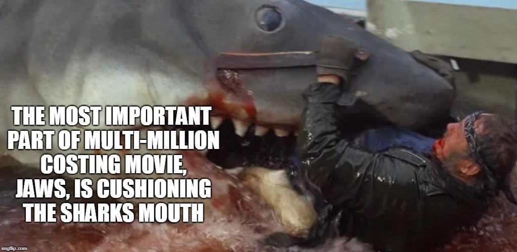 Cushioning Jaws: Shark Week | THE MOST IMPORTANT PART OF MULTI-MILLION COSTING MOVIE, JAWS, IS CUSHIONING THE SHARKS MOUTH | image tagged in movie mistakes,jaws,shark,shark week,funny,memes | made w/ Imgflip meme maker