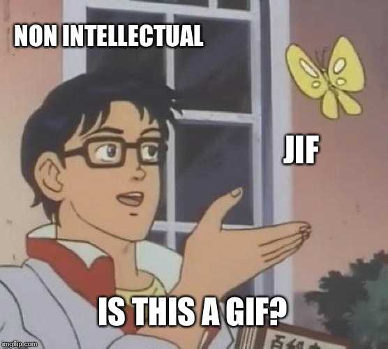 Is This A Pigeon Meme | NON INTELLECTUAL JIF IS THIS A GIF? | image tagged in memes,is this a pigeon | made w/ Imgflip meme maker