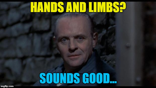 hannibal lecter silence of the lambs | HANDS AND LIMBS? SOUNDS GOOD... | image tagged in hannibal lecter silence of the lambs | made w/ Imgflip meme maker