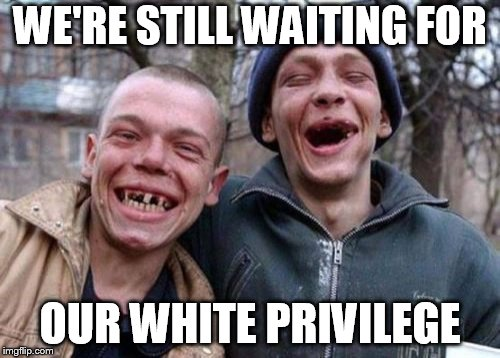Ugly Twins Meme | WE'RE STILL WAITING FOR OUR WHITE PRIVILEGE | image tagged in memes,ugly twins | made w/ Imgflip meme maker