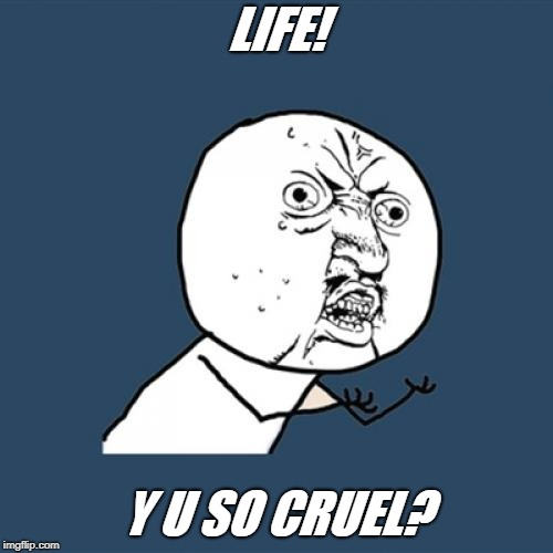 Y U No Meme | LIFE! Y U SO CRUEL? | image tagged in memes,y u no | made w/ Imgflip meme maker