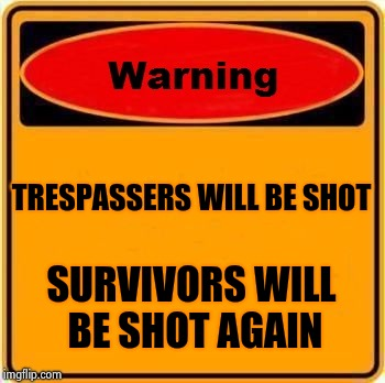 Warning Sign Meme | TRESPASSERS WILL BE SHOT SURVIVORS WILL BE SHOT AGAIN | image tagged in memes,warning sign | made w/ Imgflip meme maker