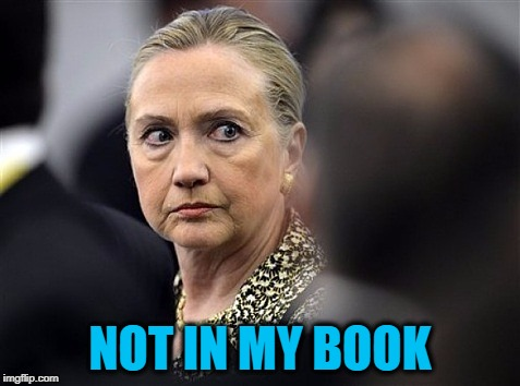 upset hillary | NOT IN MY BOOK | image tagged in upset hillary | made w/ Imgflip meme maker