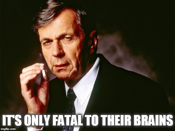 Cigarette Smoking Man | IT'S ONLY FATAL TO THEIR BRAINS | image tagged in cigarette smoking man | made w/ Imgflip meme maker