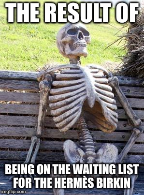 Waiting Skeleton Meme | THE RESULT OF BEING ON THE WAITING LIST FOR THE HERMÈS BIRKIN | image tagged in memes,waiting skeleton | made w/ Imgflip meme maker
