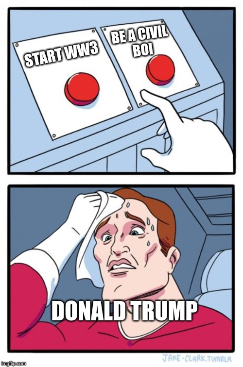 Two Buttons Meme | START WW3 BE A CIVIL BOI DONALD TRUMP | image tagged in memes,two buttons | made w/ Imgflip meme maker