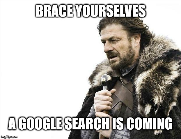 Brace Yourselves X is Coming Meme | BRACE YOURSELVES A GOOGLE SEARCH IS COMING | image tagged in memes,brace yourselves x is coming | made w/ Imgflip meme maker