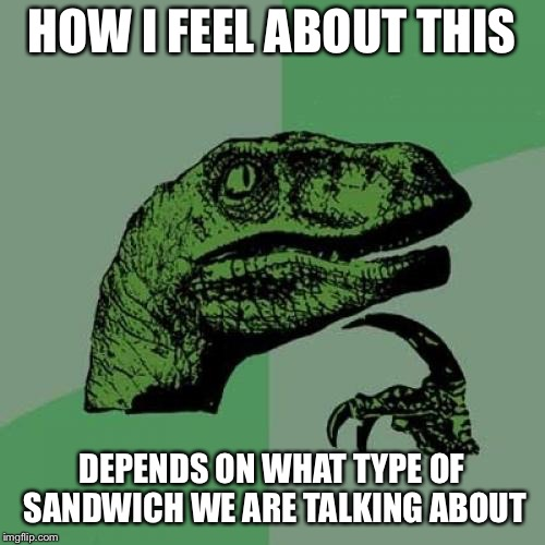 Philosoraptor Meme | HOW I FEEL ABOUT THIS DEPENDS ON WHAT TYPE OF SANDWICH WE ARE TALKING ABOUT | image tagged in memes,philosoraptor | made w/ Imgflip meme maker
