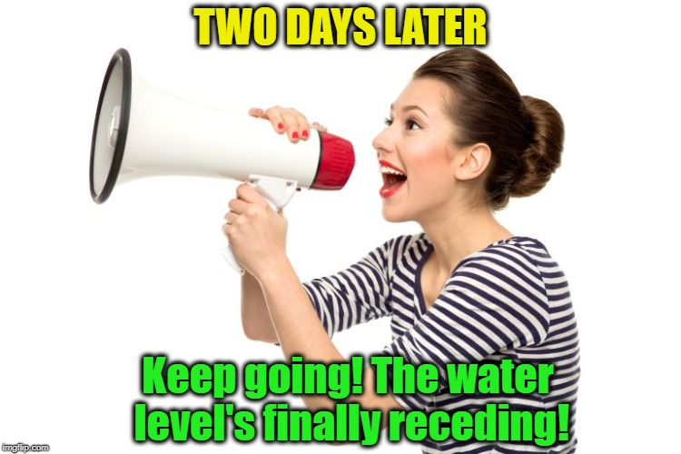 TWO DAYS LATER Keep going! The water level's finally receding! | made w/ Imgflip meme maker