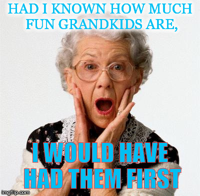 HAD I KNOWN HOW MUCH FUN GRANDKIDS ARE, I WOULD HAVE HAD THEM FIRST | image tagged in grandmother | made w/ Imgflip meme maker