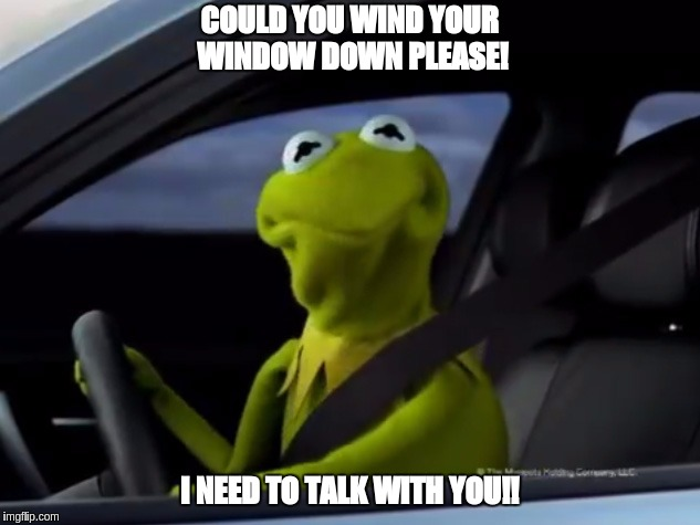 I need to talk with you! | COULD YOU WIND YOUR WINDOW DOWN PLEASE! I NEED TO TALK WITH YOU!! | image tagged in kermit,nwo,police state,police car,robin hood,rebel flag | made w/ Imgflip meme maker