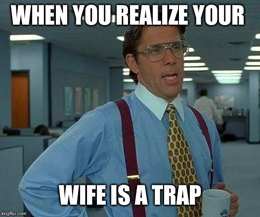 That Would Be Great Meme | WHEN YOU REALIZE YOUR WIFE IS A TRAP | image tagged in memes,that would be great | made w/ Imgflip meme maker
