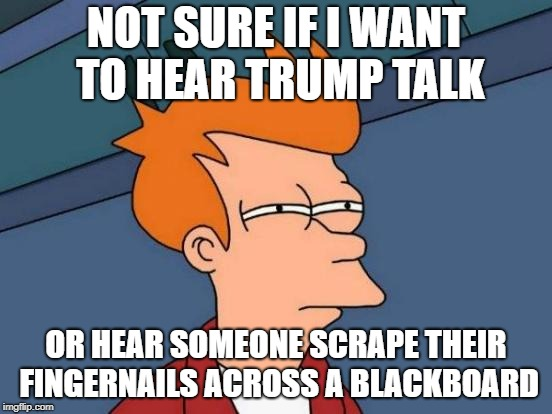 Futurama Fry Meme | NOT SURE IF I WANT TO HEAR TRUMP TALK OR HEAR SOMEONE SCRAPE THEIR FINGERNAILS ACROSS A BLACKBOARD | image tagged in memes,futurama fry | made w/ Imgflip meme maker