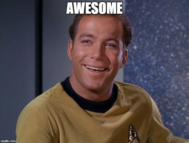 kirk | AWESOME | image tagged in kirk | made w/ Imgflip meme maker