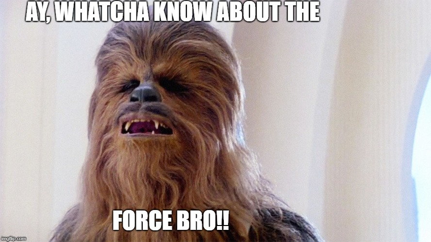 Chewbacca |  AY, WHATCHA KNOW ABOUT THE; FORCE BRO!! | image tagged in chewbacca | made w/ Imgflip meme maker