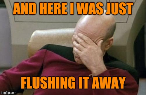 Captain Picard Facepalm Meme | AND HERE I WAS JUST FLUSHING IT AWAY | image tagged in memes,captain picard facepalm | made w/ Imgflip meme maker
