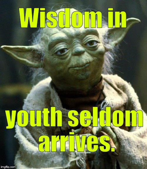 Remark muttered by Master Yoda as he recalled the first few hundred years or so of his misspent youth.  | Wisdom in youth seldom arrives. | image tagged in star wars yoda,youth,youth is wasted on the young,of course it is,who else has it you dope,douglie | made w/ Imgflip meme maker