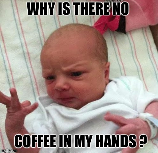 WHY IS THERE NO COFFEE IN MY HANDS ? | image tagged in why | made w/ Imgflip meme maker